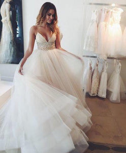 Summer Tulle V-Neck Garden Elegant Bridal Gowns Chiffon Wedding Gowns RS239