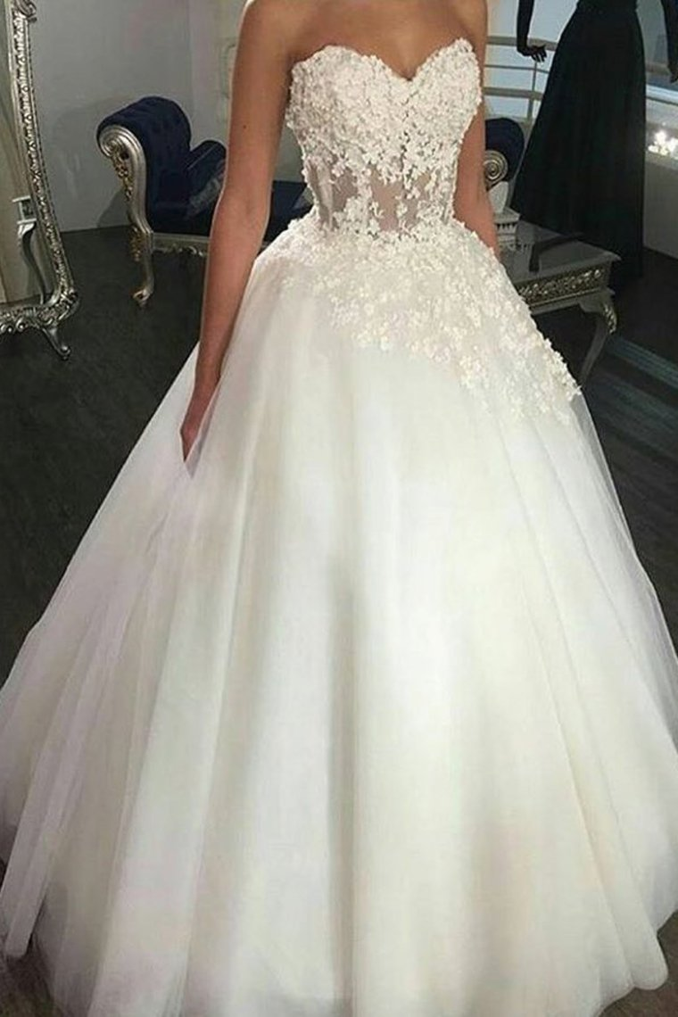 2019 New Arrival Wedding Dresses A-Line Sweetheart Tulle With Applique