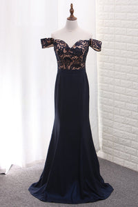 2019 Mermaid Off The Shoulder Elastic Satin & Lace Prom Dresses Sweep Train