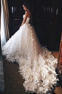 2019 Sweetheart Wedding Dresses A Line Tulle With Handmade Flower