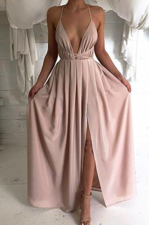 New Style Sexy Backless Long V-Neck Halter Sleeveless Simple Cheap Pink Prom Dresses RS773