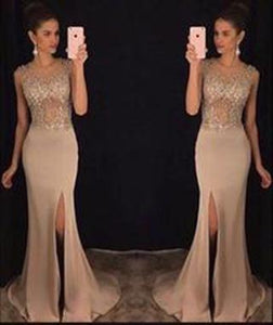 New Elegant Round Neck Sequin Mermaid Chiffon Long with Slit Beads Prom Dresses RS772