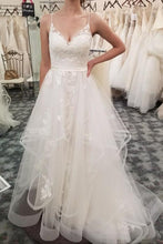 Load image into Gallery viewer, Spaghetti Straps V-Neck Ivory Lace Long Wedding Dresses Dresses For Wedding