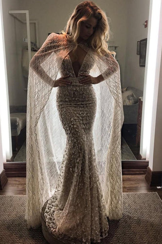 2019 Spaghetti Straps Wedding Dresses Mermaid Lace With Sash And Cape