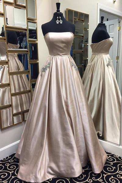 Sweetheart strapless light grey simple long A-line prom dress for teens graduation dress