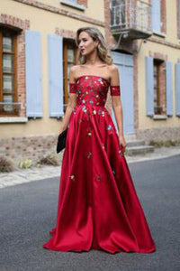2019 Red Long Prom Dresses Strapless Floor-Length Satin Sexy Prom Dress/Evening Dress