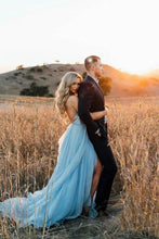 Load image into Gallery viewer, Thigh Split Sky Blue Rustic Beach Wedding Gown With Court Train Evening Prom Dresses