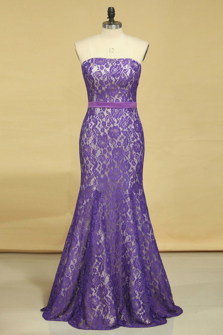 2019 Purple Strapless Prom Dresses Mermaid Floor Length With Trumpet Lace Skirt