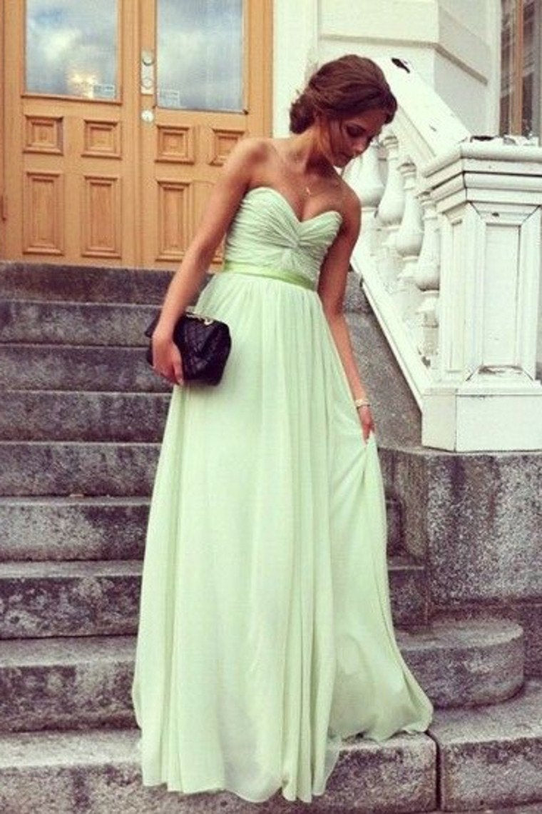 Hot Selling Prom Dresses A Line Floor Length Sweetheart Chiffon Belt Color Sage Discount Price Fast Delivery