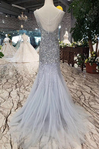 2019 Sequins Bodice Prom Dresses Tulle Mermaid Sweep Train Zipper Up