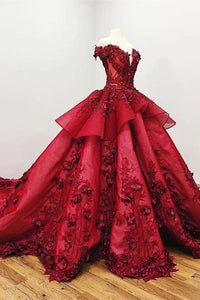 Modest Ball Gown Burgundy Lace Beading Princess Prom Dresses With Appliques