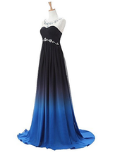 Load image into Gallery viewer, A-line Long Ombre Scoop Cap Sleeve Open Back Chiffon Bridesmaid Dresses Prom Dresses RS16
