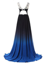 A-line Long Ombre Scoop Cap Sleeve Open Back Chiffon Bridesmaid Dresses Prom Dresses RS16