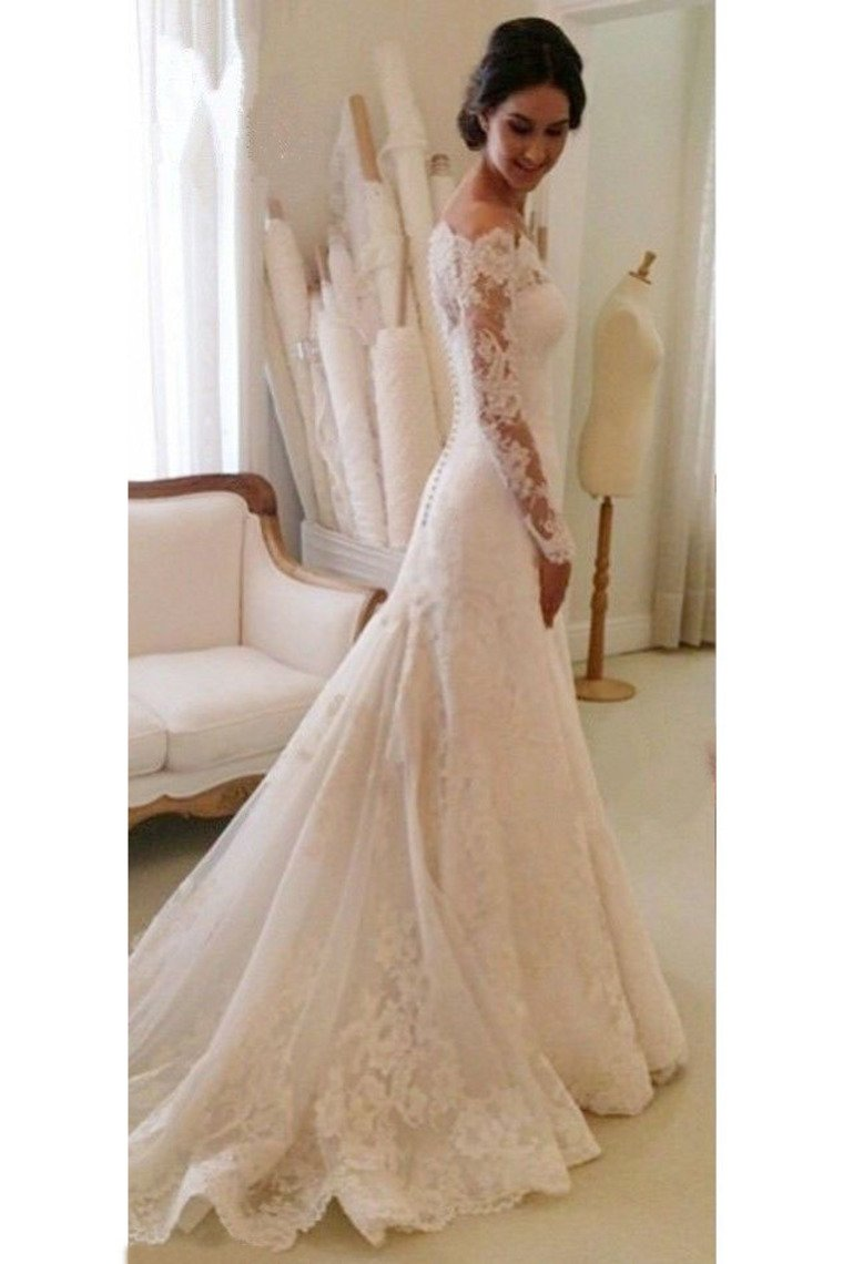 2019 Boat Neck Mermaid Tulle With Applique Wedding Dresses Court Train