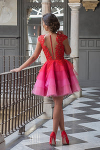 2020 Red Lace Appliques Top Cap Sleeves Multi Colors Tulle Short Homecoming SRS10094