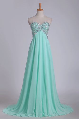 2019 A Line Chiffon Sweetheart Open Back Beaded Bodice Prom Dresses