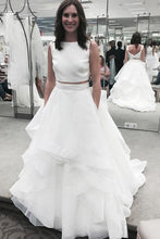 Load image into Gallery viewer, Pure white organza tiered two pieces round neck A-line long prom dresses