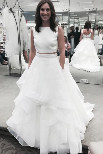 Pure white organza tiered two pieces round neck A-line long prom dresses