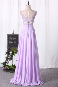 2019 Scoop Cap Sleeves Prom Dresses Chiffon With Applique Floor Length