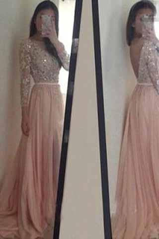 Long Sleeve Backless Long Sexy Lace Pink Beads A-Line Scoop Prom Dresses RS943