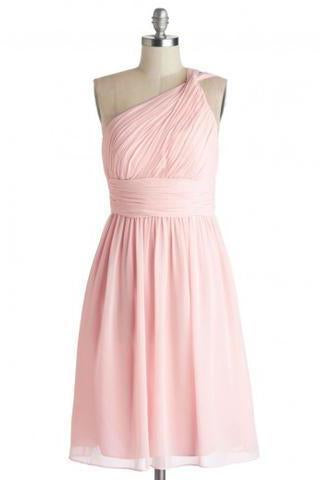 Simple Dress A-line One-shoulder Pink Chiffon Bridesmaid Dresses Reception Dresses RS473