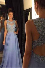 Load image into Gallery viewer, Lace Open Back Sexy Blue Chiffon Cheap A-Line Beads Sleeveless Scoop Prom Dresses RS942