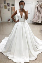 Load image into Gallery viewer, Elegant Deep V-Neck Simple Ball Gown Wedding Dresses Bridal Dresses