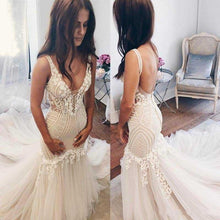 Load image into Gallery viewer, Beautiful Lace Tulle V-Neck Mermaid Ivory Sexy Sleeveless Wedding Dresses RS293