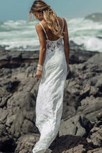 Load image into Gallery viewer, Long Simple A-Line Sheath Spaghetti Straps Backless Sweetheart Lace Beach Wedding Dresses RS382