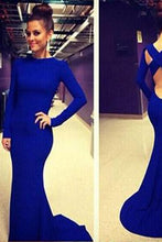 Load image into Gallery viewer, Open Back White Prom Dresses With Long Sleeves Tight Backless Royal Blue Prom Gown RS153