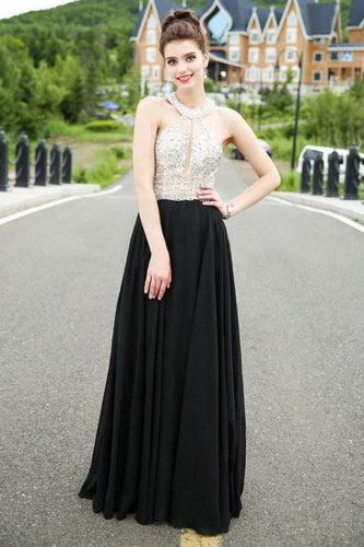 Classy A-line Scoop Chiffon Tulle Crystal Detailing Black Open Back Prom Dresses RS525