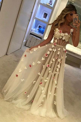 2019 A-Line Tulle Sweetheart Spaghetti Straps Pretty Appliques Backless Prom Dresses RS344