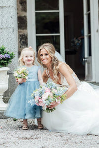 A-Line Mid-Calf Blue Lace Top Tulle Scoop Sleeveless Cheap Junior Flower Girl Dress RS528