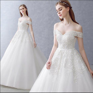 White Off-the-Shoulder Ball Gown Beads Sweetheart Floor-Length Wedding Dress RS751