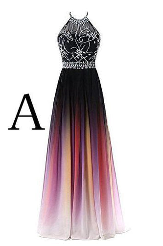 Elegant A-Line Halter Gradient Chiffon Long Ombre Beads Lace up Prom Dresses RS363