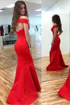 2019 Mermaid Red Elegant Sweetheart Off Shoulder Satin Corset Open Back Prom Dresses RS194