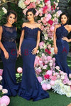 Stylish Halter Open Back Mermaid Navy Blue Bridesmaid Dress with Lace Beading RS613