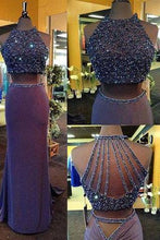 Load image into Gallery viewer, Two Piece Column Purple Sheath Crew Neck Sweep Train Beading Halter Formal Dresses RS51