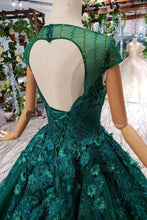 Load image into Gallery viewer, 2019 Prom Dresses Court Train Scoop Short Sleeves Lace Up Back
