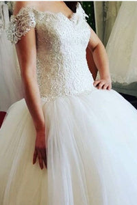 2019 Off The Shoulder Wedding Dresses A Line Tulle With Beading Court Train