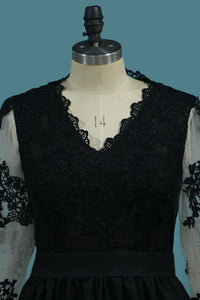 2019 A Line Long Sleeves V Neck Prom Dresses With Applique And Slit