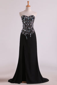 2019 Mermaid Beaded Bodice Chiffon With Slit Prom Dresses Sweep Train