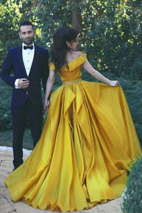 Stylish A-Line Off-Shoulder Yellow Chiffon Evening Dress with Beads Prom Dresses RS457