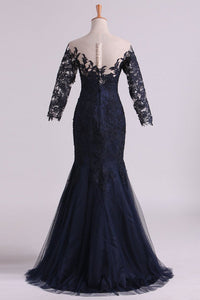 2019 Bateau Half Sleeves Mother Of The Bride Dresses Floor Length Tulle With Applique