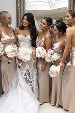 Load image into Gallery viewer, Cheap Mermaid Spaghetti Straps Backless Simple V Neck Bridesmaid Dresses SRS15570