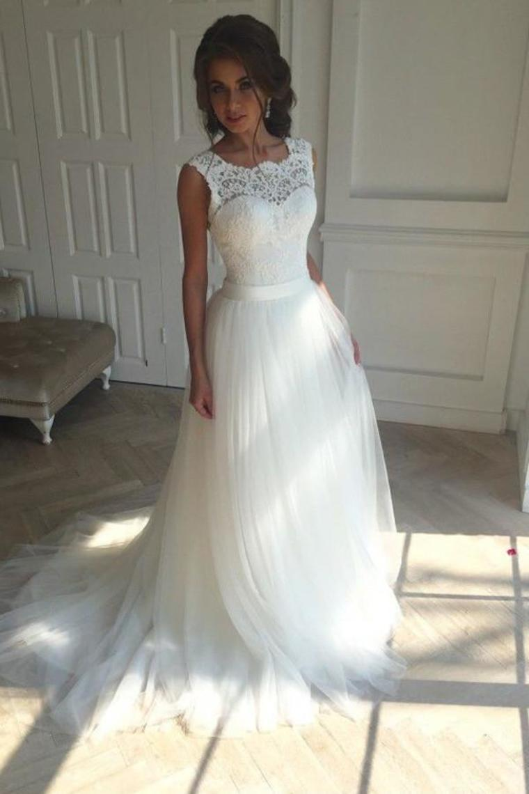 White Open Back Lace Up Modest Lace Tulle Wedding Dresses Bridal Gowns