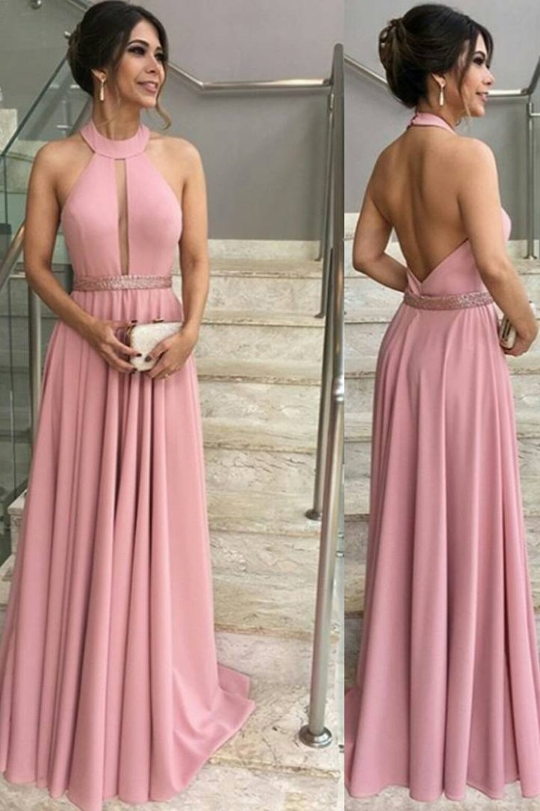 2019 A Line Halter Prom Dresses With Beads Waistline Elastic Satin