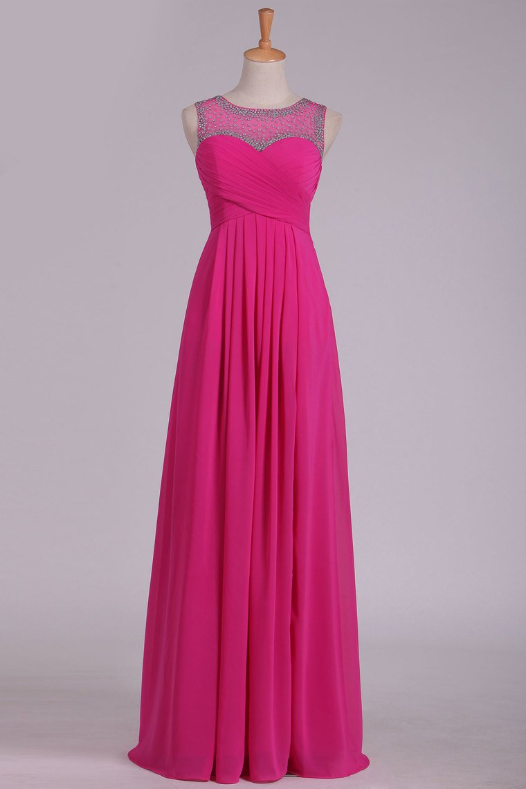 2019 Prom Dresses Scoop Chiffon With Beads And Ruffles Floor Length A Line