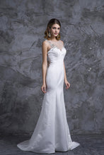 Load image into Gallery viewer, 2019 Prom Dresses Mermaid White Satin With Beading
