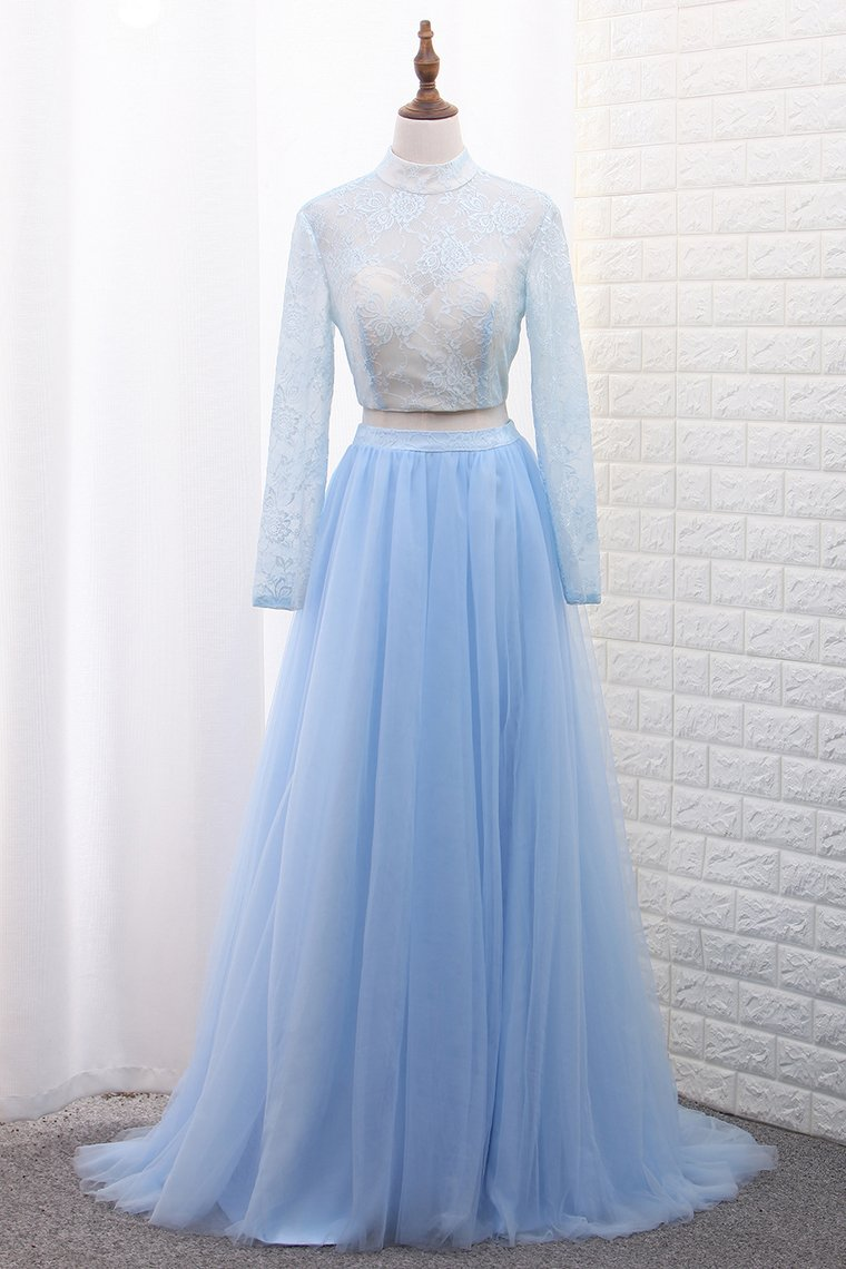 2019 Two-Piece High Neck Evening Dresses Tulle & Lace With Slit A Line